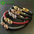 Vintage Design Northskull Bracelets Leather Mens Twin North Skull Bracelet For Men Jewelry Wholesale BW0118
