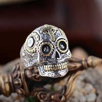 Skull Ring Silver Gilt Antique Style Unique Personality Is Cool
