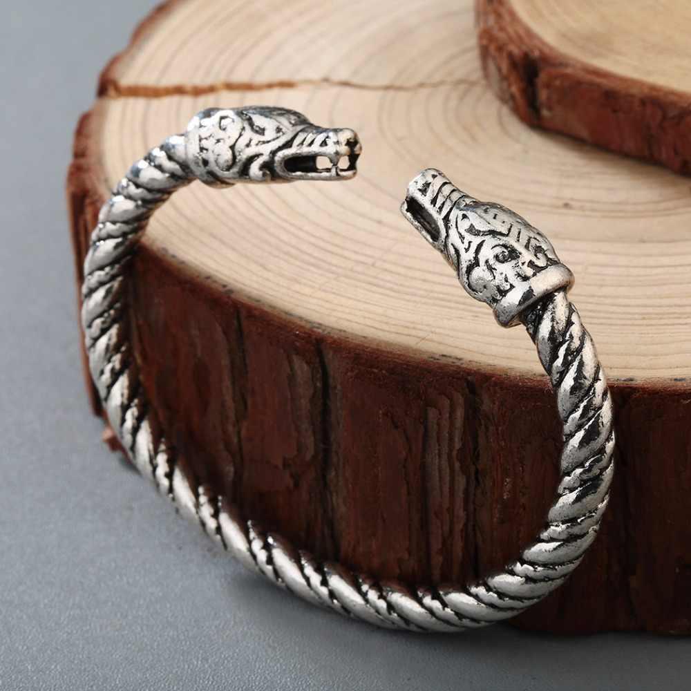 CHENGXUN הנורדית תכשיטים זכר צמיד בעלי החיים דרקונים ראש צמיד ויקינג פגאני מימי הביניים צמיד סלטיק קשר תכשיטים
