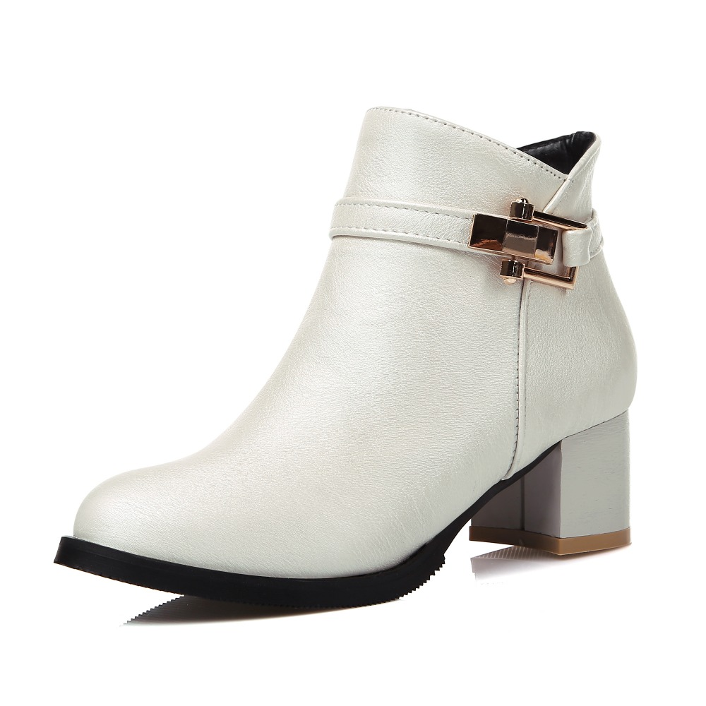 MESUOTO Spring Autumn Round Toe Faux Leather Zip Square Heel Women Ankle Fashion Boots Shoes Woman Top Size 14 new design brush effect soft leather back etoile round ring belt buckle ankle boots square toe side zip women boots shoes woman