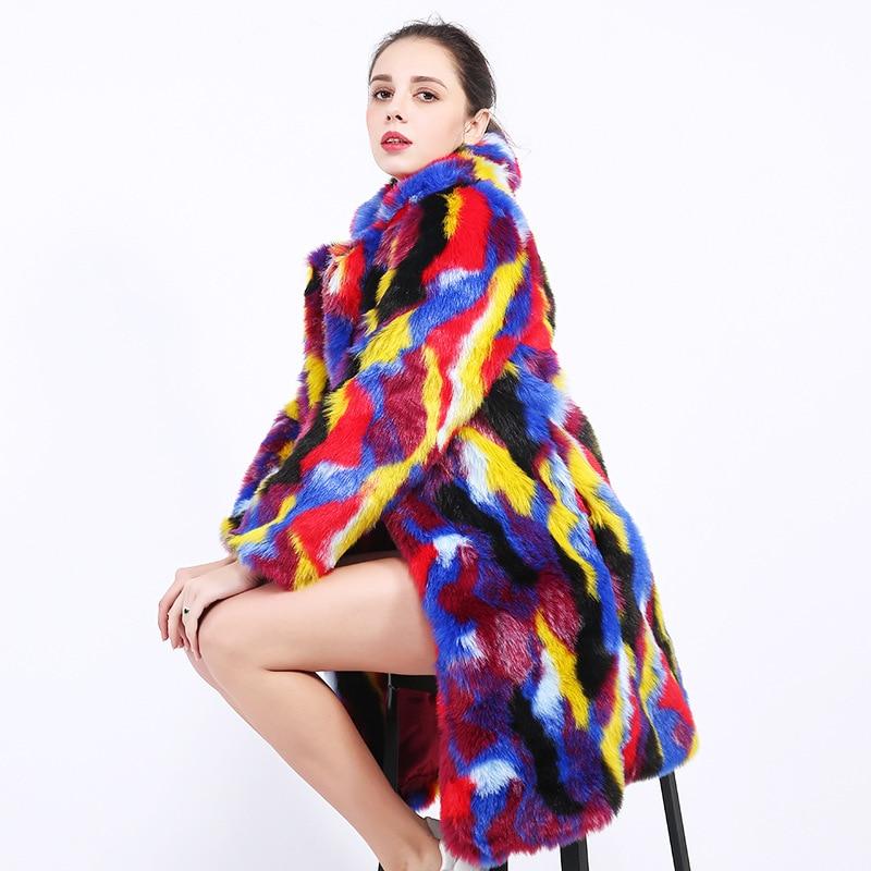 New Outono Inverno Quente Grossa Pele De Coelho Casacos Longos Mulheres Emendado Panelled Multicolor Casaco De Pele da Pele Do Falso Casaco Feminino Mw328