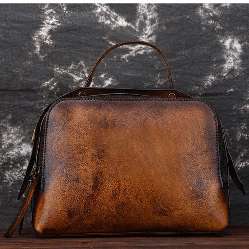 Women Genuine Leather Bag Cross Body Handbag Tote Purse Brush Color Female Retro Pouch Small Shoulder