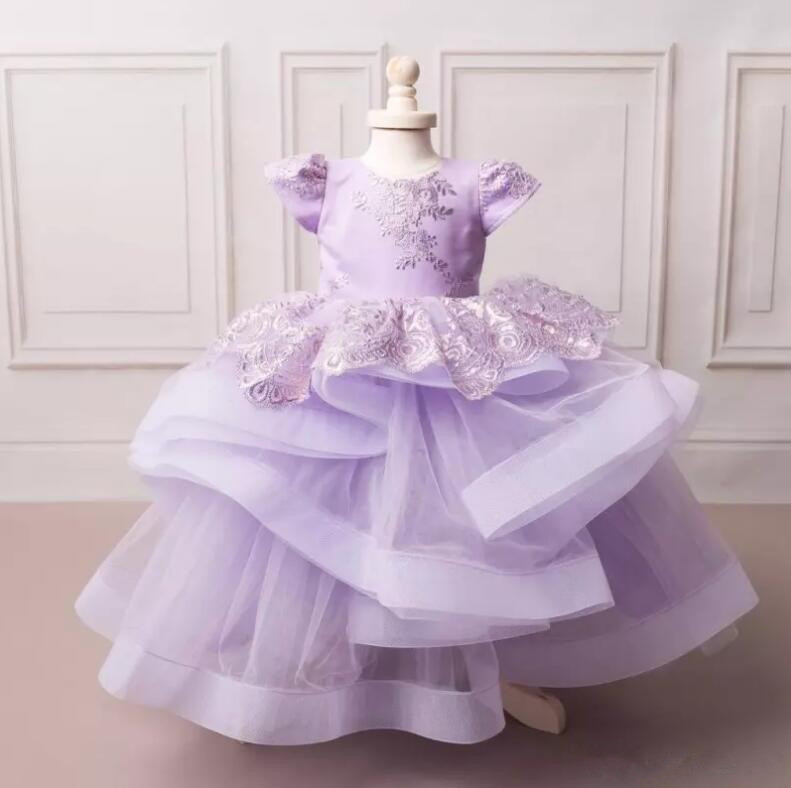 New Lavender Flower Girl Dresses for Wedding Jewel Neck Tiered Girls Pageant Gown with Bow Custom Made New Lavender Flower Girl Dresses for Wedding Jewel Neck Tiered Girls Pageant Gown with Bow Custom Made