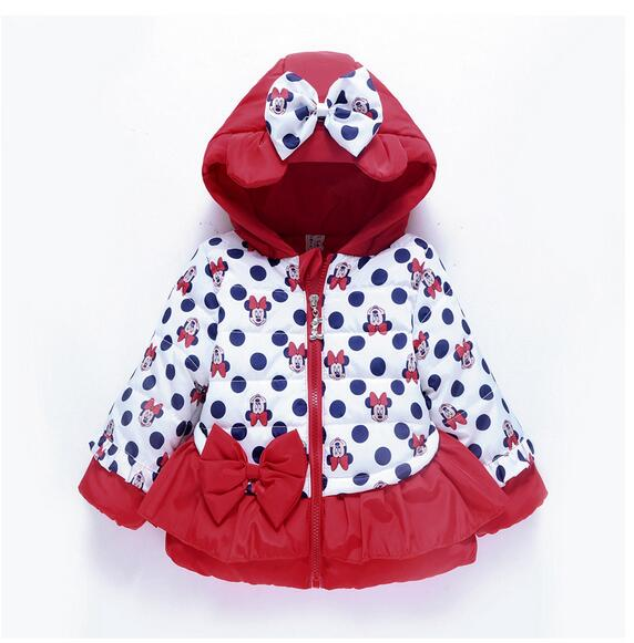 Kids Girls Winter Coats 2017 Christmas Hooded Thicken Long Sleeve Dots Minnie Mouse Bow Children Fashion Warm Down Coat Outwear стоимость