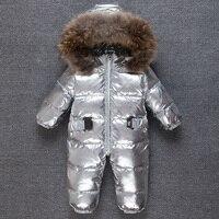 Bébé D'hiver Neige Combinaisons Plume hiver chaud bébé conjoint garçon fille escalade vêtements Argent cheveux col en plein air Barboteuse
