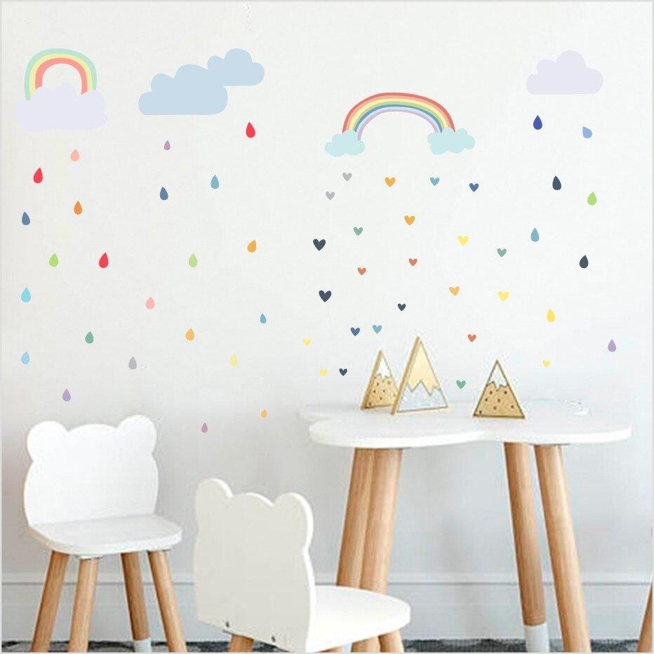 3 Farben Regenbogen Wolke Regen Tropfen Kunst Wandaufkleber Für Kinderzimmer Dekoration Bunte Regentropfen Wandtattoo Tapeten Wohnkultur