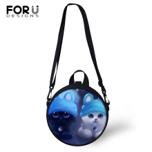 FORUDESIGNS Cartoon Cats Print Kindergarden Baby Shoulder Bag Women Round Shape Messenger Bags Kawaii Animal Girls Circular