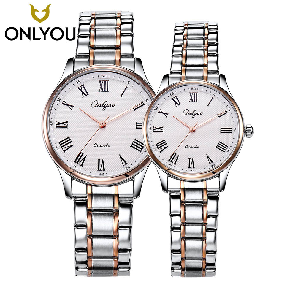 ONLYOU 2PCS Brand Luxury Lover Watches Quartz Dress Women Clock Men Watch Couples 2017 New Fashion Waterproof  Relojes Hombre onlyou men s watch women unique fashion leisure quartz watches band brown watch male clock ladies dress wristwatch black men