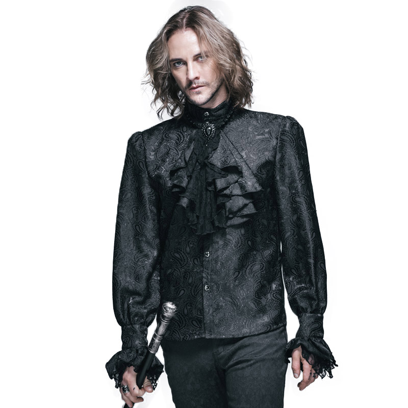 Steampunk D'hiver Motif Hommes Chemise À Manches Longues Casual Shirts Noir Blanc Blouse Gothique Brillant Hommes Cravate Chemise Marque de Vêtements