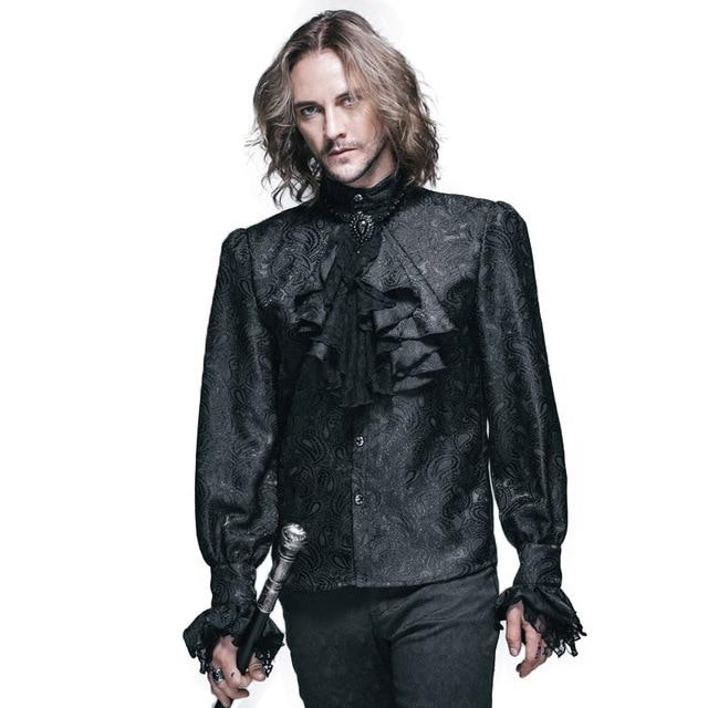 Steampunk Winter Pattern Men Shirt Long Sleeve Casual Shirts Black White Blouse Gothic Shining Men's Tie Shirt Brand Clothing
