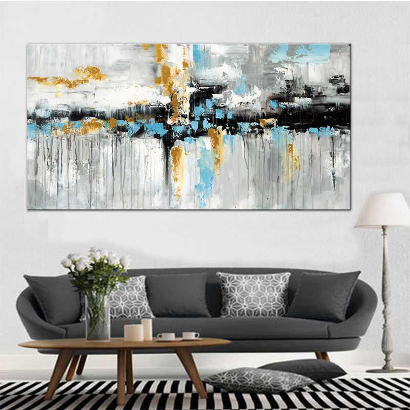 Biru Coklat Modern Abstrak Lukisan Minyak Poster Cetak Dinding Seni Kanvas Dinding Seni Gambar untuk Ruang Cuadros Rumah dekorasi