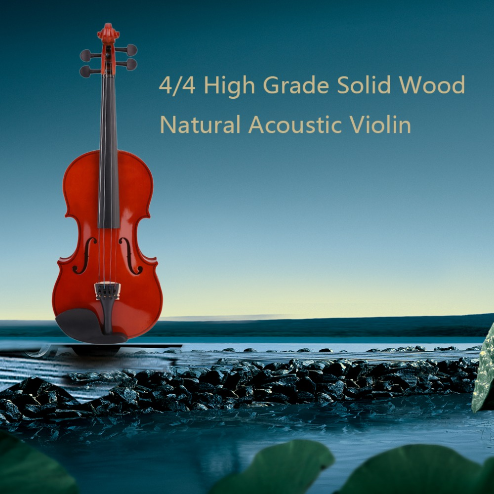 4/5 High Grade Full Size Solid Wood Natural Acoustic Violin Fiddle With Case Bow Rosin Professional Musical Instrument