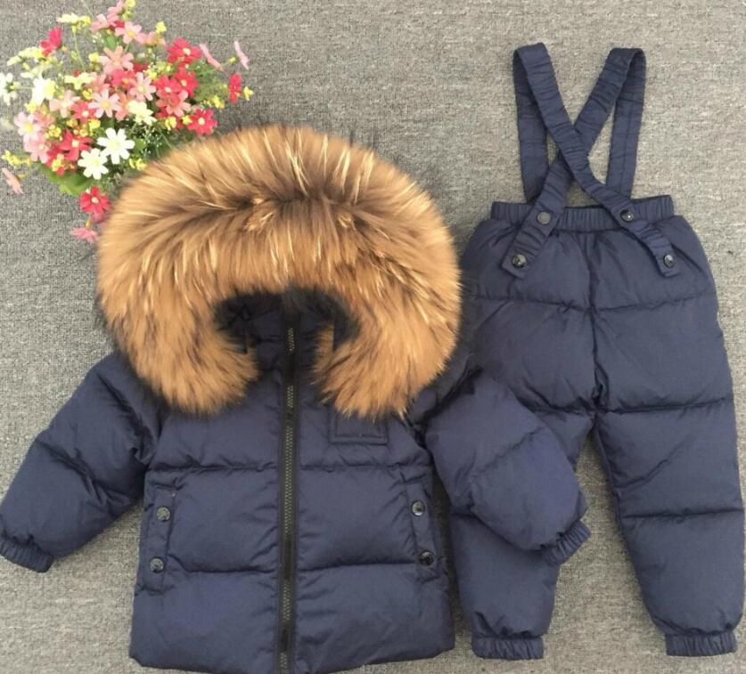 Girls jackets Kids Clothes Russian winter Warm Children clothing set white down boys snowsuit baby outwear waterproof snowsuit