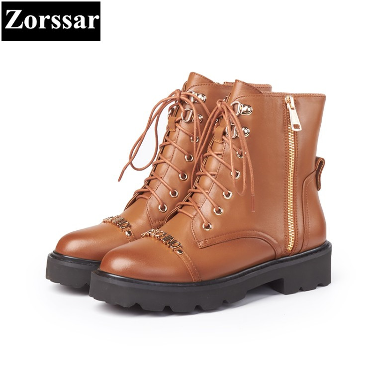 {Zorssar} 2018 NEW fashion thick heel lace-up Motorcycle boots Genuine leather women Med heel ankle boots autumn women shoes sfzb new square toe lace up genuine leather solid nude women ankle boots thick heel brand women shoes causal motorcycles boot