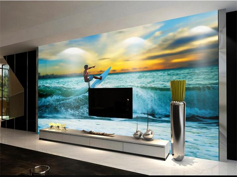 3d Room Wallpaper Custom Mural Non Woven Picture Surfing The Sea