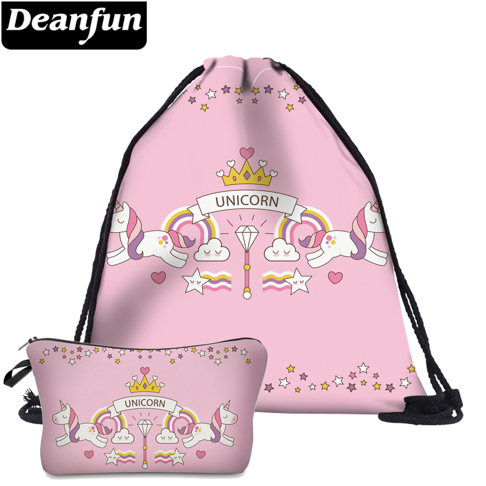 Deanfun 2Pc Pink Unicorn Drawstring Bags 3D Printed For Girls School Storage