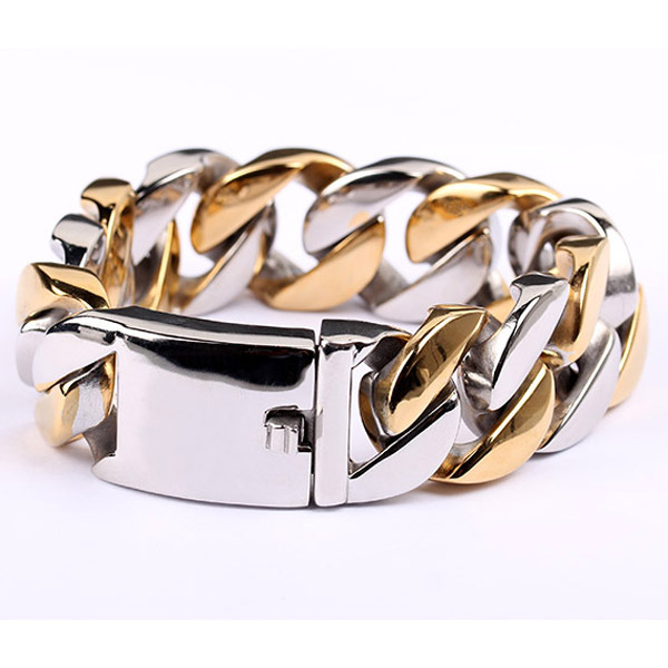 Bracelets for Men fashion jewelry silver and gold color titanium jewelry pulseira masculina pulsera hombre pulseira masculina buddha bracelets silver tone link chain bracelets bangle for mens jewelry gift good quality free shipping