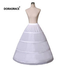 Doragrace White 4 Hoops A Line Petticoat Wedding Accessories Bride Crinoline Underskirt