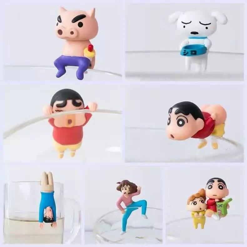 Children Kids Toy Figures 7Pcs Crayon Shin Chan Cup Edge