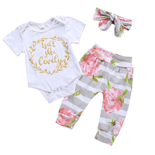 3Pcs Newborn Baby Girl Clothes Letter Long Sleeve Romper+Floral Long Pants+Headband Outfits Clothes Set 0-24M Infant Clothing цена в Москве и Питере