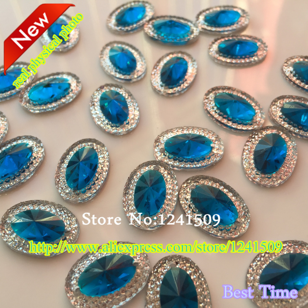 Promotion 2017 New Product 13X18Mm Oval Resin Sapphire Blue 100Pcs Modelling Clothing Handwork Shoe Button Bag Sewing Accessory-In Rhinestones -1856
