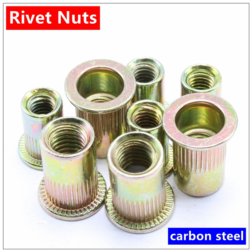 MXITA Carbon Steel Rivet Nuts M3 M4 M5 M6 M8 M10 M12 Flat Head Rivet Nuts Set Nuts Insert Reveting Multi Size Collocation