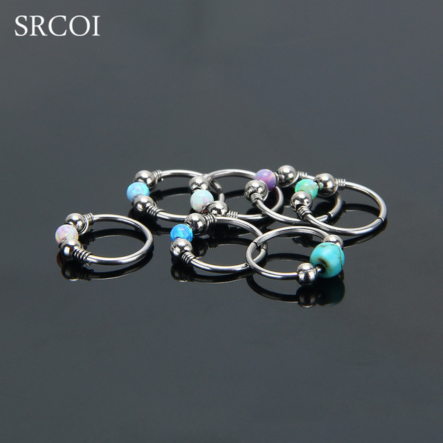 Fire Opal Hoops Helix Piercing Ear Cartilage Surgical Steel Septum Clickers Nose Ring Nipple Lip Tragus Daith Migraine Piercing