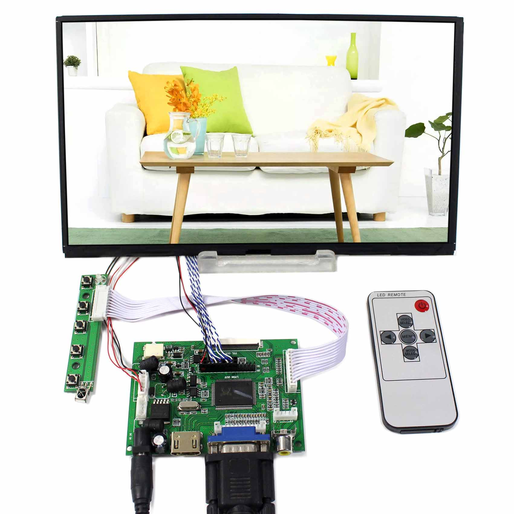 HDMI VGA 2AV LCD Controller Board+10.1inch B101XAN01 1366x768 IPS LCD Screen vga hdmi lcd edp controller board led diy kit for lp116wh6 spa1 lp116wh6 spa2 11 6 inch edp 30 pins 1lane 1366x768 wled ips tft