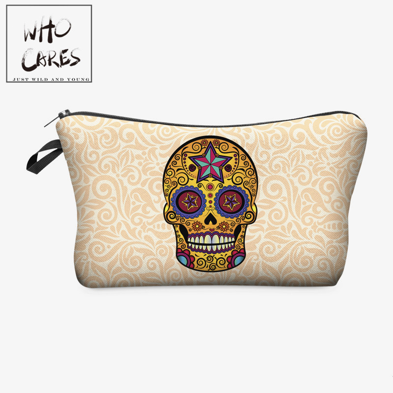 Mexican skull 3D printing cosmetic bag Zohra 2018 Fashion New Hot Now makeup bag women trousse de maquillage travel organizer pug dog 3d printing pencil bags cosmetic bag organizer 2018 fashion new makeup bag trousse de maquillage necessaire women pouch