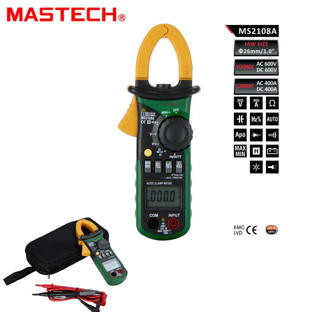 MASTECH multímetro Digital Amper medidor de pinza MS2108A actual pinza pinzas AC/DC voltaje actual condensador comprobador de resistencia