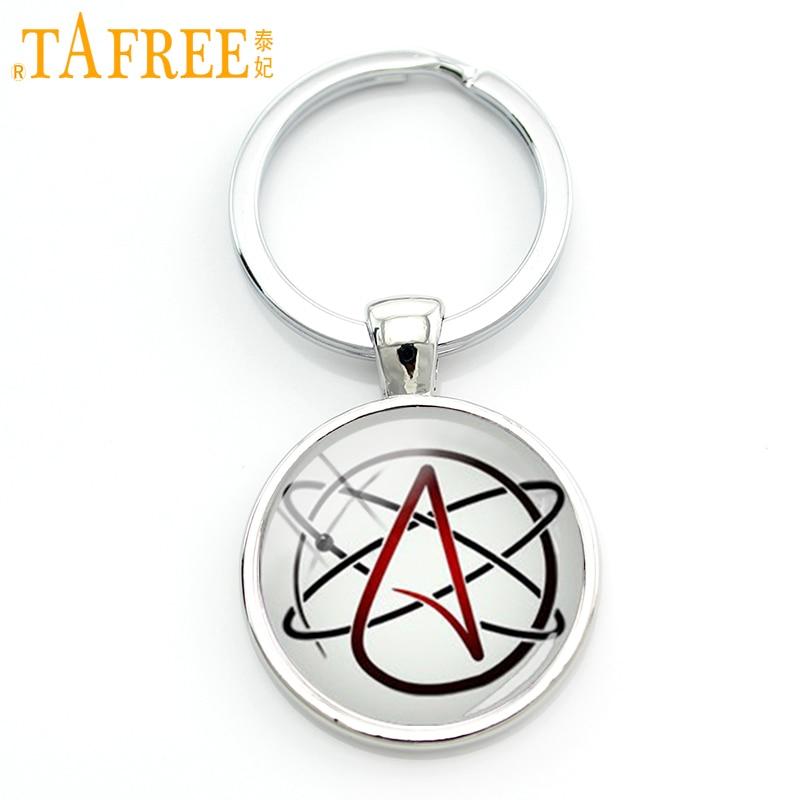 TAFREE Atemi ateist simbol simbol kyç zinxhir i modës ateist logo logo keychain ateizëm lëvizje bizhuteri bizhuteri modës gra dhurata ateiste KC523