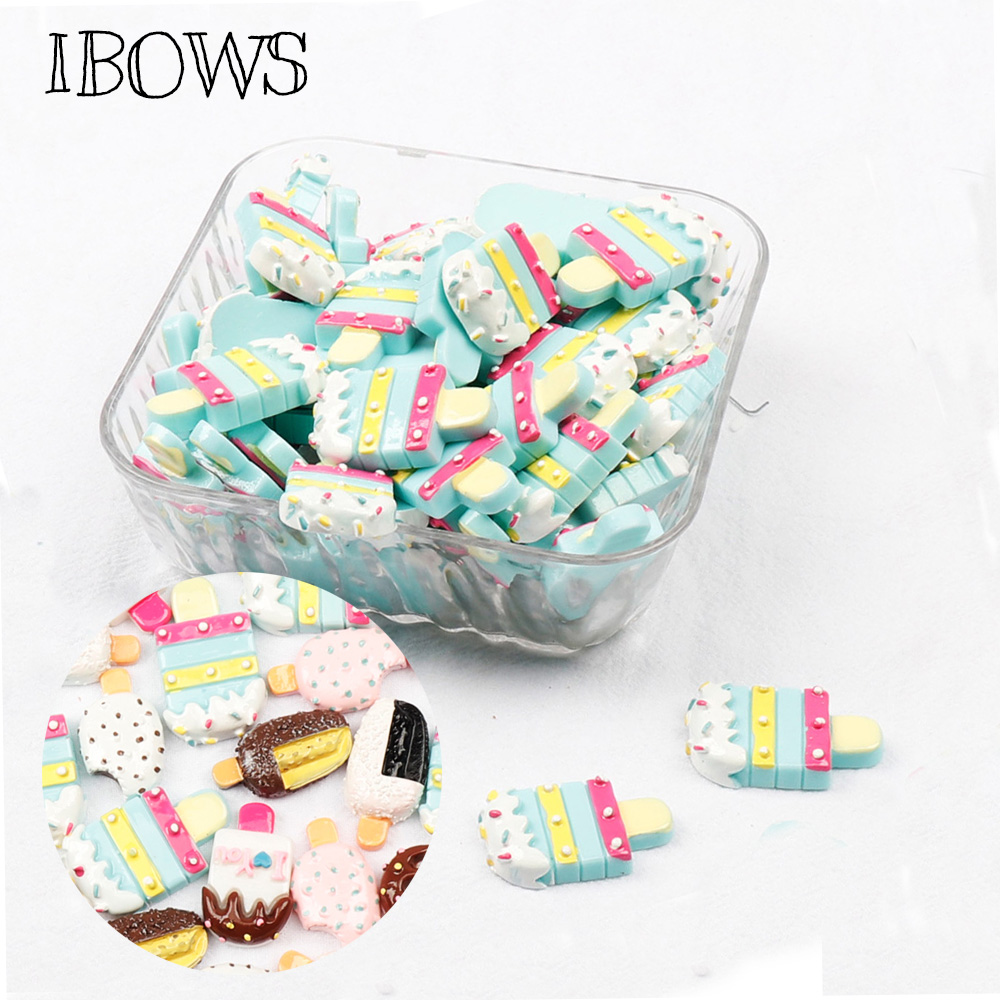 IBOWS 10pcs Flat Back Resin Summer Ice Cream Cute Resins DIY Hair Accessories Jewelry Materials Cabochons Resin Decoration