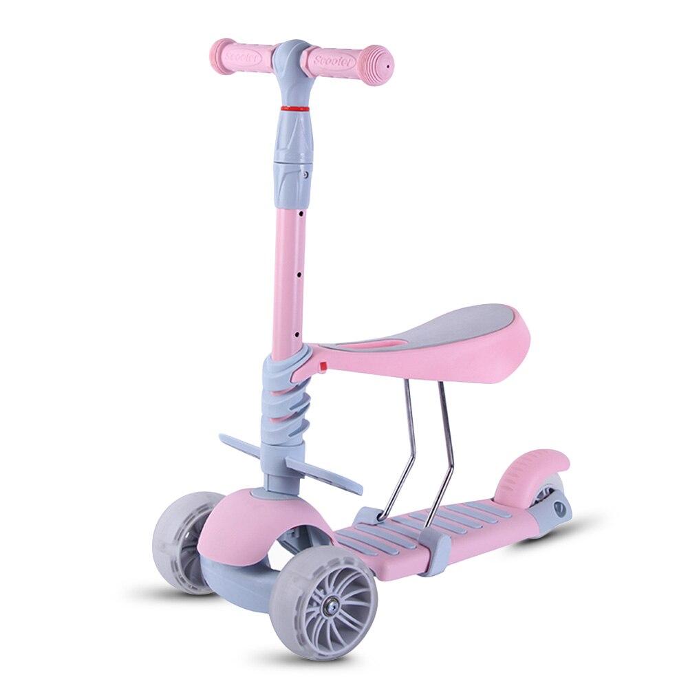 Trotteur bébé trois-en-un trois roues enfants Scooter siège amovible hauteur réglable enfants Kick Skateboard
