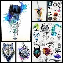 Black Diamond Geometry Owl Temporary Tattoo Sticker WOmen Fake Henna Waterproof Tattoo Decals 21 15CM Crystal