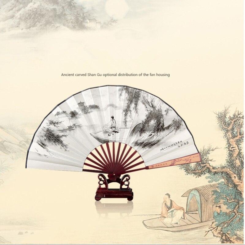 1438 9 De Descuentoabanicos De Madera Mano Ventilador De Bambú Impresión De Madera Decoración Abanico Boda Decoración Regalo Abanico Plegable