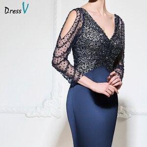 Image 5 - Dressv dark navy mermaid long evening dress v neck 3/4 sleeves button wedding party formal gowns dress sequins evening dresses