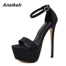 Aneikeh/Новинка года; Летние пикантные женские туфли на высоком каблуке; модная обувь для стриптиза; Туфли-лодочки для вечеринок; женские блестящие босоножки на платформе