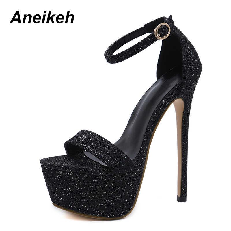 Aneikeh 2019 Yeni Sandalet Yaz Seksi Kadınlar Yüksek Topuklar Moda Striptizci Ayakkabı Parti Pompaları Kadın Platformu Bling Sandalet