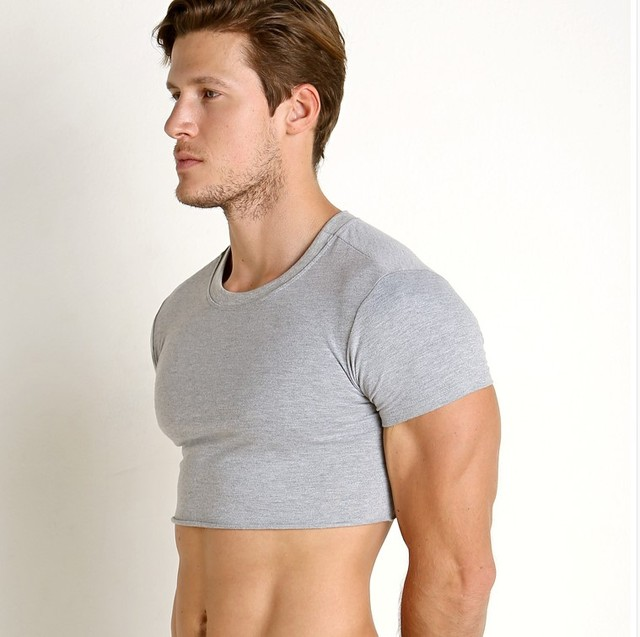 Free shipping Summer men's super short T - shirt gym coat sport bottom  Sexy stage costume