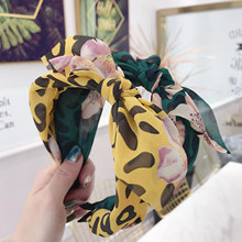 Fashion Girls Women Headband Bohemia Hairband Big Bowknot Leopard Hair Band Flower Summer Wide Side Hair Accessories(China)