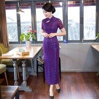 Mùa hè Stylish Dài Sườn Xám Trung Quốc Phụ Nữ Thanh Lịch Mỏng Ren Màu Tím Cái Yếm mới lạ Váy Vestidos Kích Thước S M L XL XXL XXXL 6005