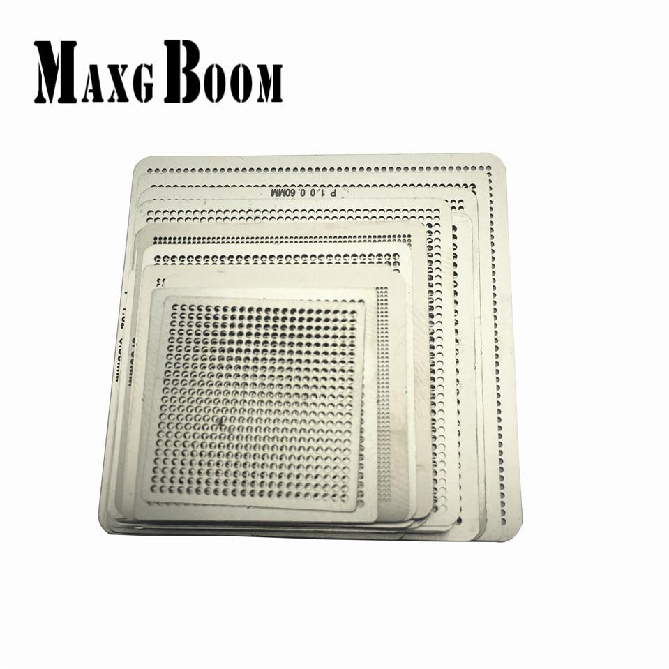 MaxgBoon 2017 27pcs BGA Directly Heat Rework Reballing Universal Stencil Template latest laptop xbox ps3 bga 170pcs template bga kit 90mm for chip reballing