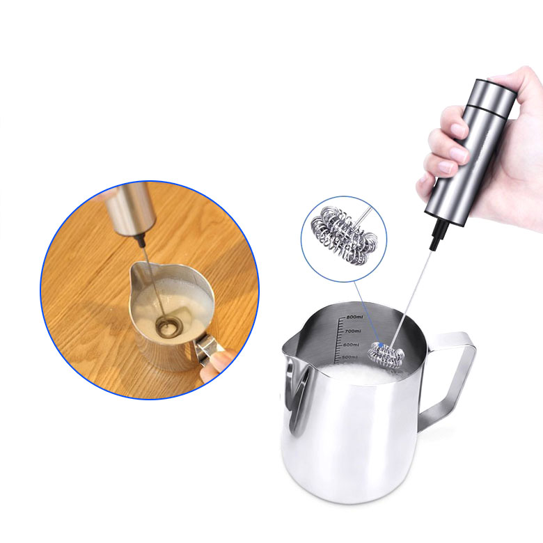 Egg Beaters,Milk Frother, Handheld Double Spring Whisk Head, Electric Milk Frother with Pedestal, Clean Brush, Stainless Steel