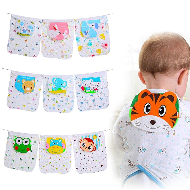 New 2 Pcs Cotton Baby Wicking Towel Absorb Sweat Back Towel Perspiration Wipes Reusable Random Cartoon Print Baby Towel