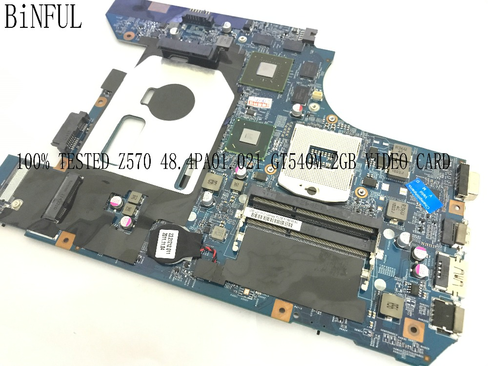 BiNFUL наличии 100% Тестирование нового 48.4PA01.021 материнская плата для ноутбука LENOVO Z570 ноутбук видео карты GT540M 2 ГБ ...