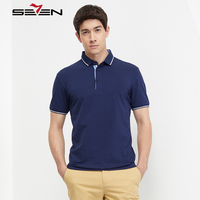 Seven7 Brand Polo Shirts For Men Summer Short Sleeve Casual Classic Cotton Slim Fit Business Mens