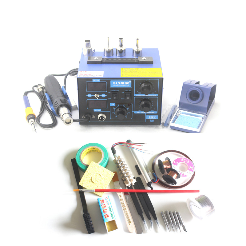 Free shipping  Saike 952D AC 110V / 220V 700W 2 in 1 SMD Rework Soldering Station Hot Air Gun Solder Iron For Welding Repair