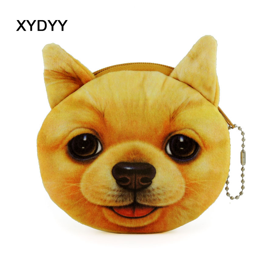 XYDYY Kawaii Dog Animal Prints Women Plush Coin Purse Portable Zipper Keychain Pouch Purse Bag Mini Wallet Handbag for Gift