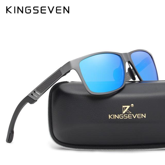 KINGSEVEN Men's Polarized Sunglasses, Top Quality Aluminum and Magnesium Square Frame