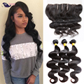 Cheap Human Hair Frontal With Bundles Free Part Full Lace Frontal With Bundles Peruvian Body Wave Virgin Hair With Closure